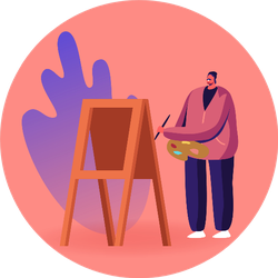 Talented Artist Male Character At Easel Sticker