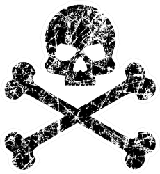 Tattered Skull and Bones Pirate Sticker