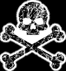 Tattered Skull and Bones Pirate Sticker