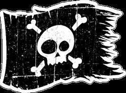 Tattered Skull Flag Pirate Sticker