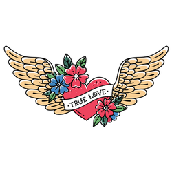"""Tattoo Flying Heart With Wings """"True Love"""" Sticker"""