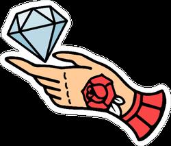 Tattoo Style Diamond and Hand Sticker
