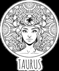 Taurus Zodiac Sign Artwork Sticker