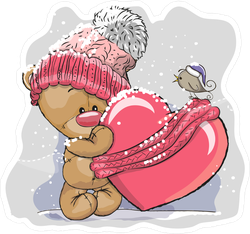 Teddy Bear In A Knitted Cap Holding A Heart Sticker