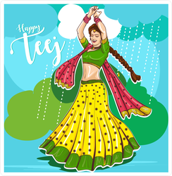 Teej Festival Celebration Of India Dancing Sticker