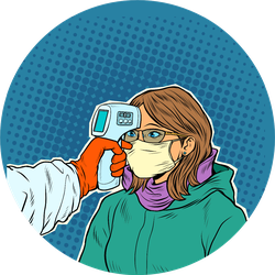 Temperature Taken Of Woman In A Medical Mask Pop Art Sticker