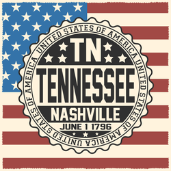 Tennessee Stamp With USA Flag Sticker