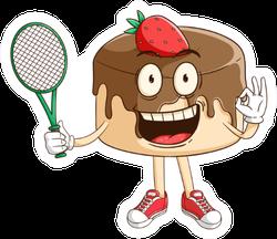 Tennis Athlete Of Chocolate Pudding Cartoon Sticker