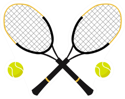 Tennis Balls And Tennis Racquet Sticker