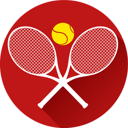 Tennis Icon On Red Sticker