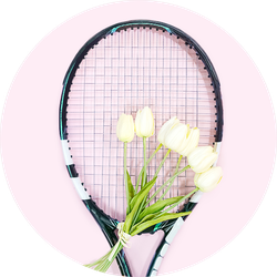 Tennis Love Layout On Pastel Pink Sticker