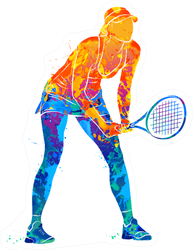 Tennis Player Silhouette Sticker