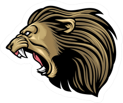 Terrifying Roaring Lion Head Sticker
