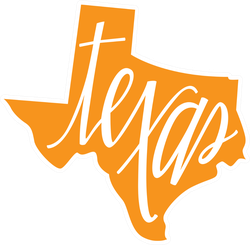 Texas State Outline And Hand Lettering Sticker