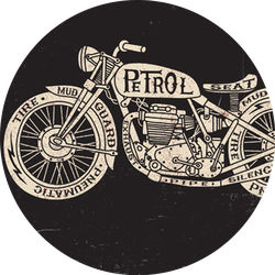 Text Filled Vintage Motorcycle Sticker