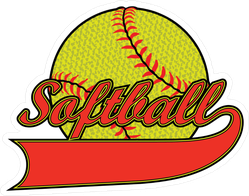 Textured Softball With Banner Sticker