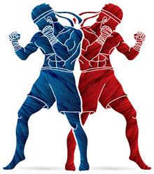 Thai Boxing Standing Action Design Red And Blue Sticker
