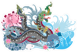 Thai Traditional Snake and Dragon Sticker