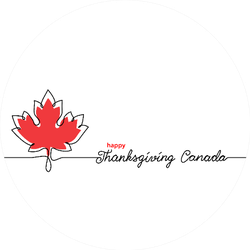 Thanksgiving Canada Art Background With Maple Leaf Sticker