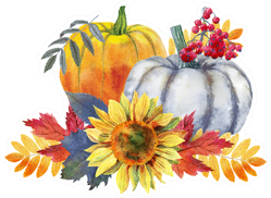 Thanksgiving Composition Of Pumpkins And Flowers Sticker