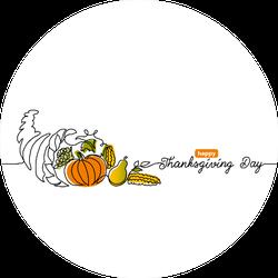 Thanksgiving Day Line Art Background With Horn Of Plenty Sticker