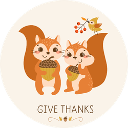 Thanksgiving Greeting Card With Cute And Funny Squirrels Sticker