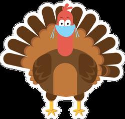 Thanksgiving Symbol Turkey Wearing Protective Mask Sticker