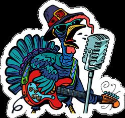Thanksgiving Turkey Character Singing Illustration Sticker