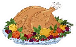 Thanksgiving Turkey Roasted Laying On Vegetables Sticker