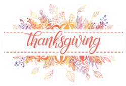 Thanksgiving Typography And Autumn Illustrations Sticker