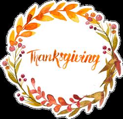 Thanksgiving Watercolor Wreath Garland Sticker