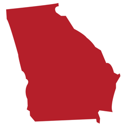 The American State Of Georgia Red Map Sticker