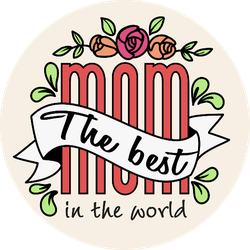 The Best Mom In The World Letters With Vintage Ribbon Sticker