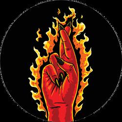 The Burning Devil Cross Fingers Sticker
