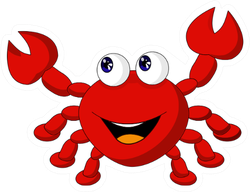 The Cartoon Red Crab Smiling Sticker