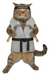 The Cat Karate Fighter In A Kimono Sticker