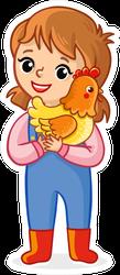 The Farmer Girl Holds A Chicken Sticker