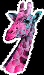 The Head Of A Giraffe Sketch Colorful Sticker