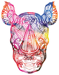 The Head Of A Rhinoceros Colorful Paint Sticker