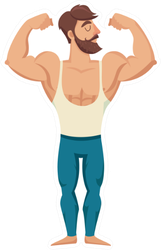 The Man With The Muscles Standing Sticker
