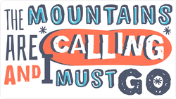 The Mountains Are Calling And I Must Go Snowboarding Sticker