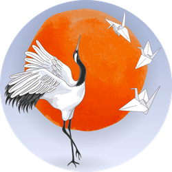 The Red-crowned Japanese Dancing Crane Paper Origami Sticker