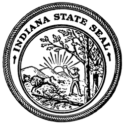 The Seal Of The State Of Indiana Black & White Sticker
