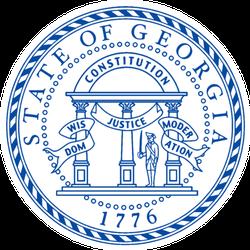 The State Seal Of Georgia In Blue Sticker