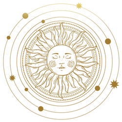 The Sun Orbits With Stars Golden Tattoo Sticker