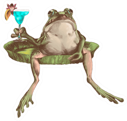 The Toad Sits With A Cocktail Sticker