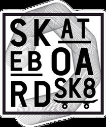 Theme Of Skateboarding Typography Sticker