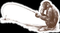 Thoughtful Fishing Monkey Sticker