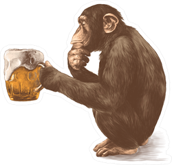Thoughtful Monkey With A Glass Of Beer Sticker