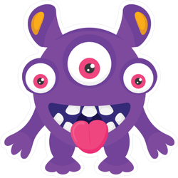 Three Eyed Monster Alien Sticker